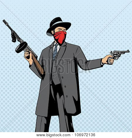 Gangster with gun robbery pop art retro style  vector illustration. Comic book imitation poster