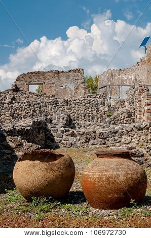 Ancient Jars Found In Pompeii. Italy. Pompeii Was Destroyed And Buried With Ash And Pumice After Ves
