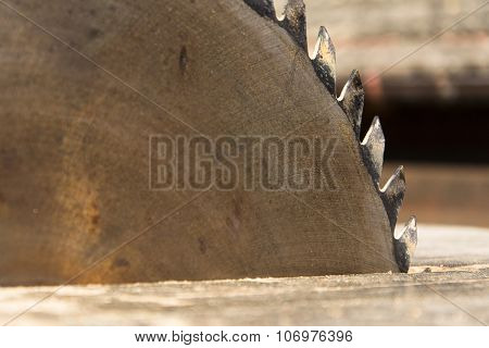 Switched Off Old Rusty Sharp Circular Saw Blades