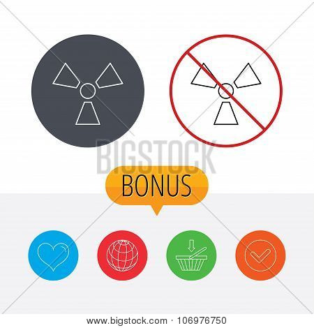Radiation icon. Radiology sign. Shopping cart, globe, heart and check bonus buttons. Ban or stop prohibition symbol. poster