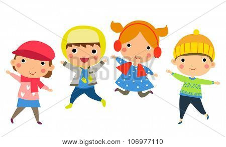 Cute happy children jumping together with winter fashion clothes