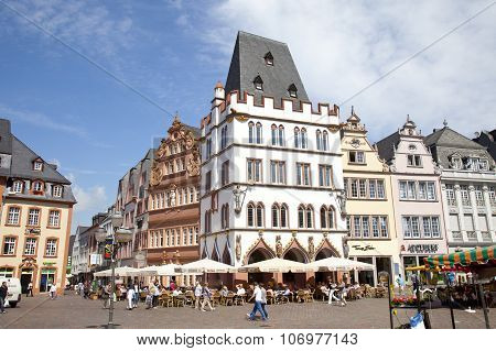 Trier, Germany - July 3, 2012 View At Tradiontal Houses At Hauptmarkt, Trier Germany. Trier Is One O