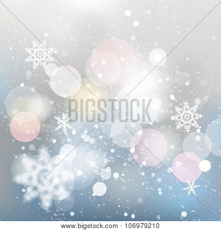 Winter defocused background. Falling snow texture with bokeh lights and snowflakes. Christmas backgr