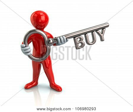 Red Man And Silver Key With Word Buy
