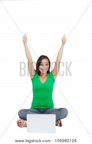 Successful Woman Holding Arms Up, Success!