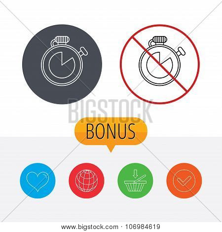 Timer icon. Stopwatch sign. Sport competition symbol. Shopping cart, globe, heart and check bonus buttons. Ban or stop prohibition symbol. poster