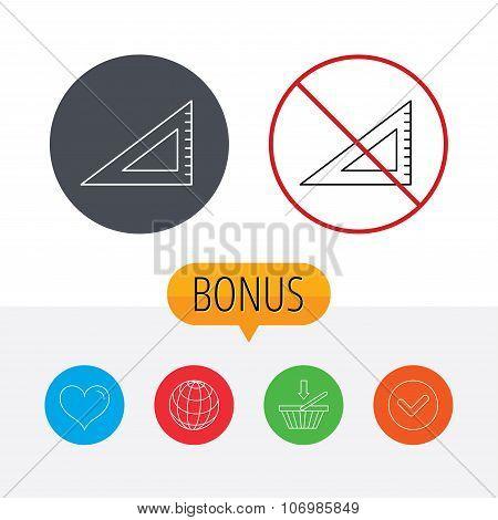 Triangular ruler icon. Straightedge sign.