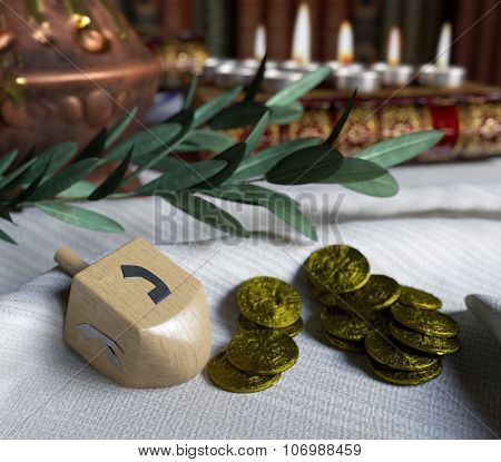 hanukkah close up with candles,spinning top and gold antique coinshanukkah close up with candles,spi