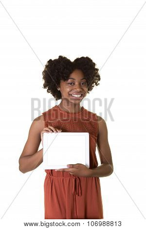 Teenager holding a tablet isolated on white