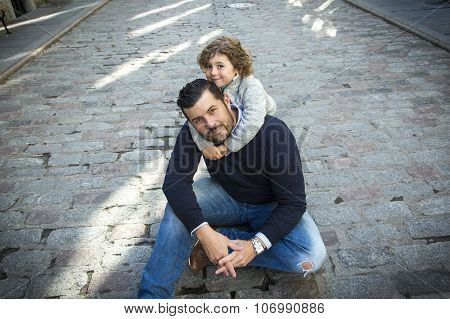 Young dad with her son