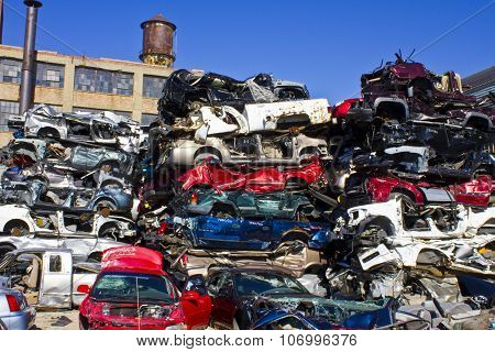 Indianapolis - November 2015: Discarded Junk Cars Piled Up After Crushing