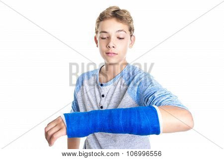 Blue cast on hand and arm isolated on white background
