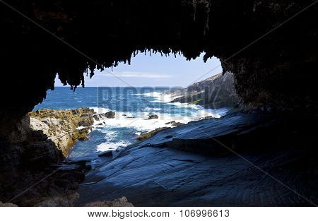 The cave of Admirals Arch on Kangaroo Island, South Australia poster