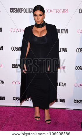 LOS ANGELES - OCT 13:  Kim Kardashian arrives to the Cosmopolitan's 50th Birthday Party on October 13, 2015 in Hollywood, CA.