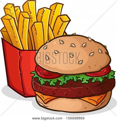 Cheeseburger and French Fries Cartoon
