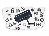 Privacy concept: Painted black Cctv Camera icon on Torn Paper background with  Hand Drawn Security Icons poster