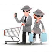 Mystery shopper man with shopping cart and mobile phone and woman with bags in sunglasses, spy coats and hats poster