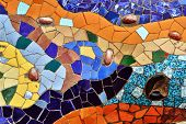 Detail of mosaic in Guell park in Barcelona Spain poster