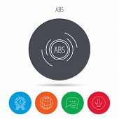 ABS icon. Brakes antilock system sign. Globe, download and speech bubble buttons. Winner award symbol. Vector poster