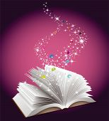 Education concept. Open book with magic fairy dust and letters falling from above. poster