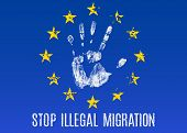 Vector conceptual illustration - Poster Stop illegal migration in EU poster