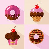 Vector flat style icons set of different types of donuts and muffins. Sweet donuts with glaze and decorative sprinkles and muffins with cherry. Fast food. poster