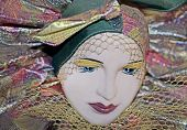 Beautiful mardigras mask of a woman with pale skin poster