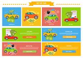 Buying selling rental car. Buy transport, auto rent, sale and loan, automobile and vehicle, purchase and deal, credit and pay, offer and money illustration. Buying car, car sale, rent a car, car loan poster