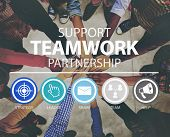 Teamwork Support Partnership Collaboration Unity Concept poster