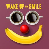 Wake up and smile - motivation background with smiling face created from cup of coffee and banana, vector illustration. poster