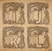 Vintage nautical alphabet - i j k l - uppercase letters on realistic old parchment background with beautiful mermaid vignette decorative scrapbooking elements poster