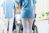Nurses pushing seniors in wheelchair thru nursing home poster