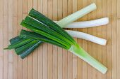 Huge stalks of fresh Japanese Leeks (Negi) on white background poster