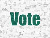 Political concept: Painted green text Vote on White Brick wall background with  Hand Drawn Politics Icons poster