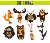 Cartoon Set of Cute Woodland and Forest Animals moose, owl, wolf, Fox, rabbit, beaver, bear, moose isolated on a white background. Vector illustration poster
