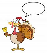 Turkey Cartoon Character Ringing A Bell With Speech Bubble poster