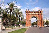 The Arc de Triomf (English: Triumphal Arch) - archway structure in Barcelona Spain. Built by architect Josep Vilaseca i Casanovas. Moorish revival style. poster