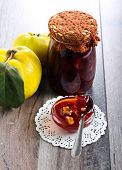 Quince and walnut homemade jam selective focus poster