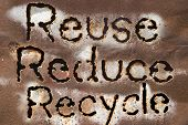 Reuse Reduce Recycle word on rust metal texture poster