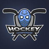 Ice Hockey sports mascot logo emblem. Hockey goalie mask with sticks. poster
