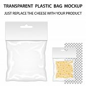 Transparent Plastic Bag Mockup Ready For Your Design. Blank Packaging Template With Hang Slot. Isolated On White Background. Vector. poster