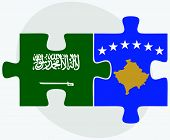 Saudi Arabia and Kosovo Flags in puzzle isolated on white background poster