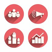 Strike group of people icon. Megaphone loudspeaker sign. Election or voting symbol. Hands raised up. Pink circles flat buttons with shadow. Vector poster