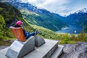 Geiranger fjord observation deck, Beautiful Nature Norway. It is a 15-kilometre (9.3 mi) long branch off of the Sunnylvsfjorden, which is a branch off of the Storfjorden (Great Fjord). poster