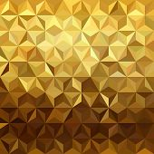 Fancy golden seamless pattern in low polygon 3d design. Ideal for web background print or greeting card. EPS10 vector. poster