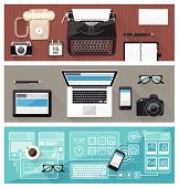 Past present and future of technology and devices from typewriter to computer and touch screen desktop business communication improvement concept poster