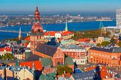 Aerial view of Old Town and River Daugava from Saint Peter church, with Riga Cathedral, Cathedral Basilica of Saint James and Riga castle, Riga, Latvia poster