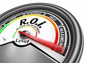 Roi level to maximum conceptual meter for return on investment poster