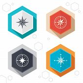 Hexagon buttons. Windrose navigation icons. Compass symbols. Coordinate system sign. Labels with shadow. Vector poster