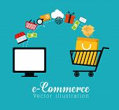 Shopping and ecommerce graphic design with icons, vector illustration. poster